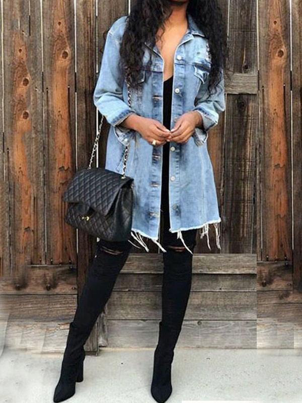 b3e12e0ae13f Veste longue en jeans boutonnage col à revers manches longues décontracté  femme denim bleu clair