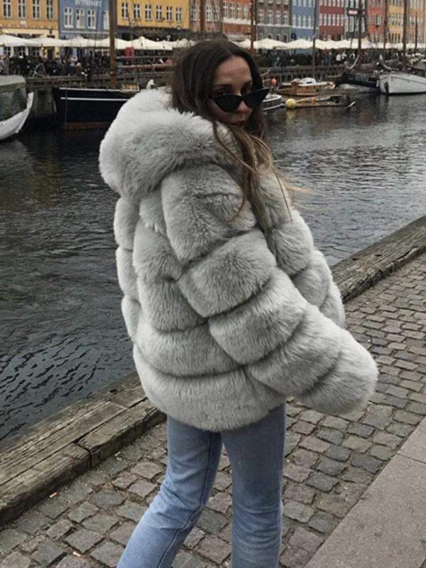 vente chaude réel 100% authentifié le plus populaire Veste en fausse fourrure à capuche manches longues hiver mode décontracté  femme gris clair