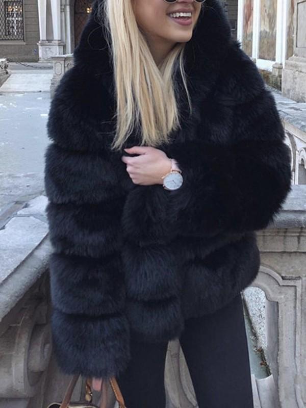 c684490c28f1 Veste en fausse fourrure à capuche manches longues hiver mode décontracté femme  noir