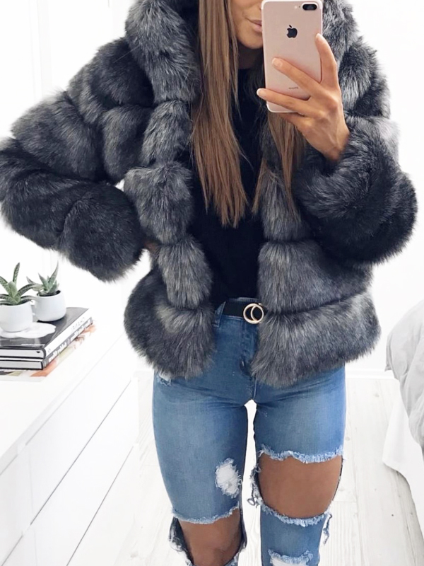 Dark Grey Fuzzy Faux Rabbit Fur Hooded Bubble Fur Coat