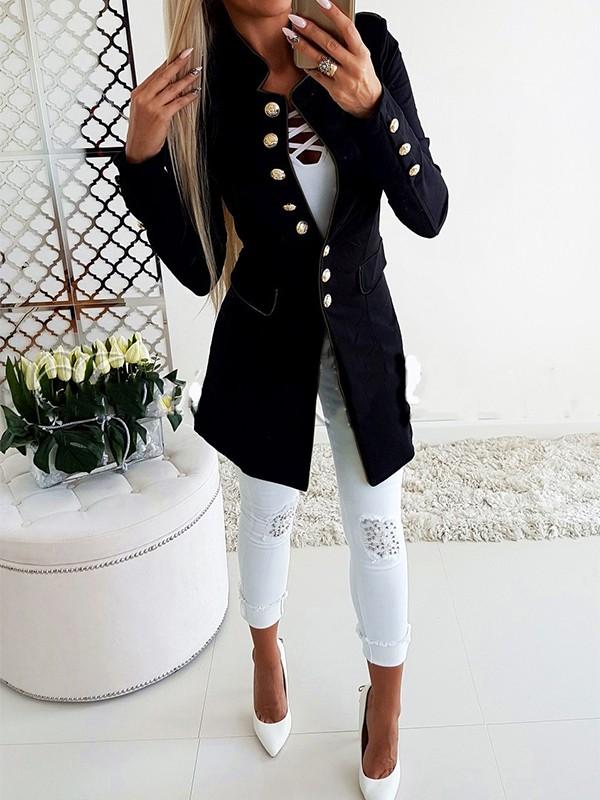 lowest price buy popular look for Manteau blazer boutonnage manches longues slim vintage décontracté mode  femme noir