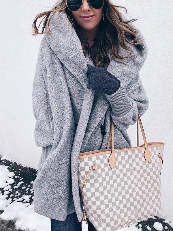 Graue Taschen Knöpfen Mit Kapuzen Langarm Oversize Dicke Winterjacke Warme Teddymantel Damen Mode