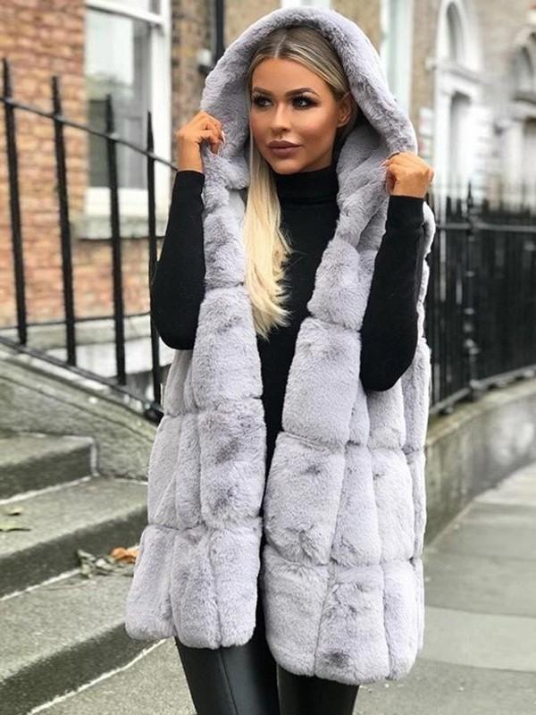 grandes variétés style classique de 2019 faire les courses pour Manteau en fausse fourrure à capuche sans manches femme mode hiver gilet  vestes gris