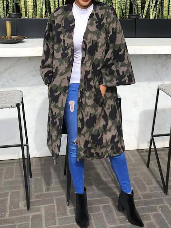 e4918437e0 Graue Camouflage Taschen Langarm Oversize Mantel Damen Jacken Cardigan  Outwear Mode