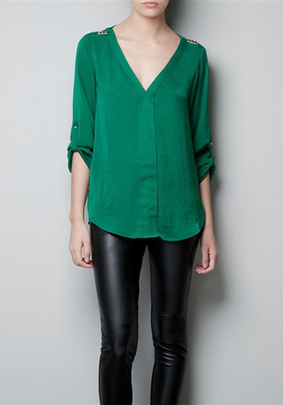 Green Rivet V Neck Long Sleeve Chiffon Blouse Blouses Tops