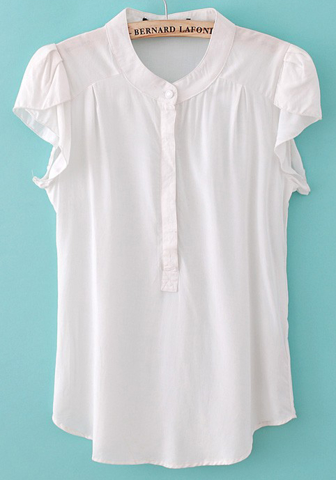 White Plain Stand Collar Short Sleeve Chiffon Blouse