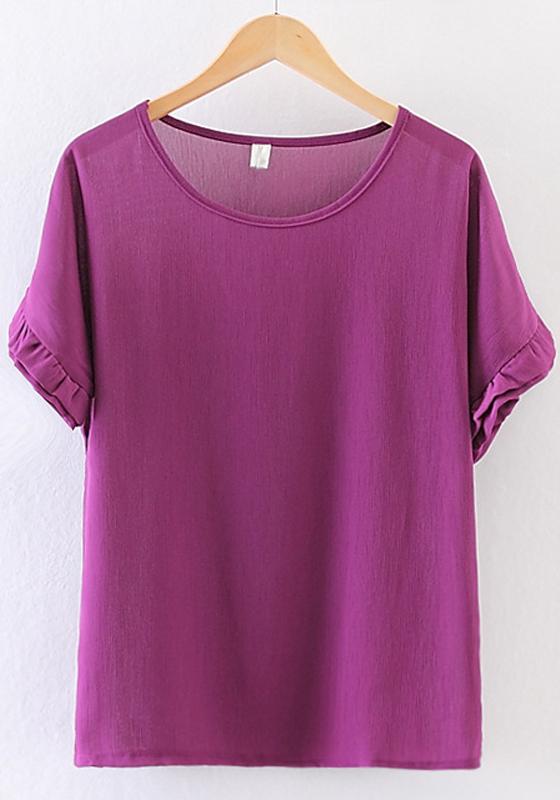 purple plain pleated chiffon blouse