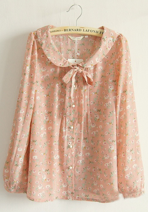 Pink Floral Buttons Belt Puff Sleeve Silk Blouse - Blouses - Tops