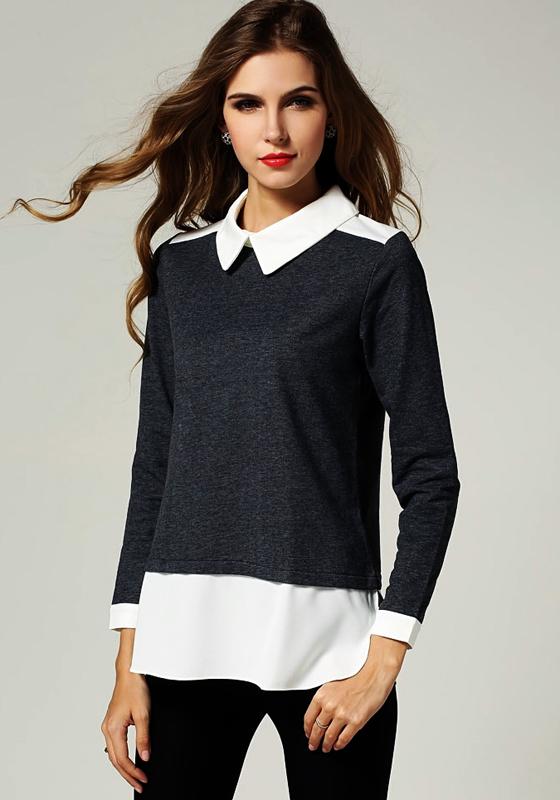 grey patchwork false 2 in 1 peter pan collar blouse blouses tops. Black Bedroom Furniture Sets. Home Design Ideas