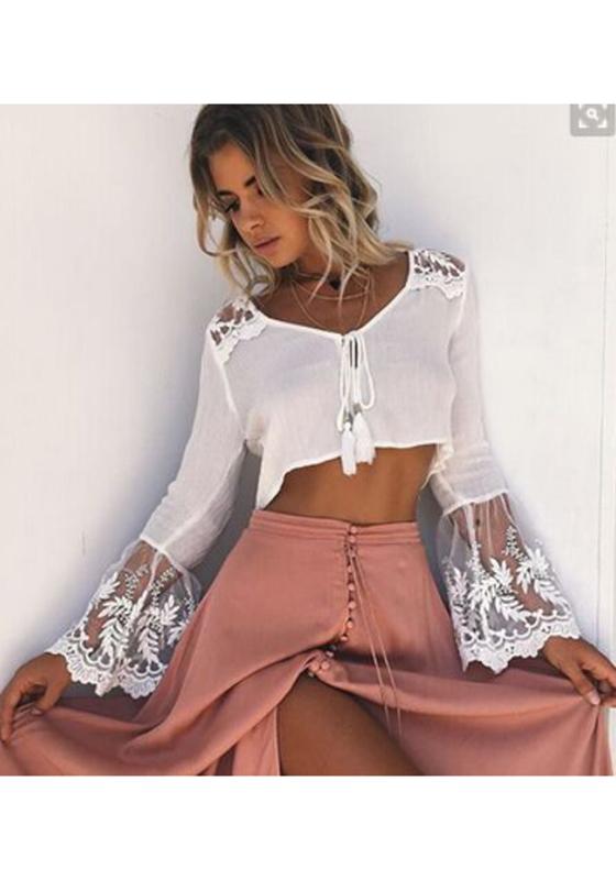 7e8eb4c26b194d White Patchwork Lace Drawstring V-neck Long Sleeve Blouse - Blouses - Tops