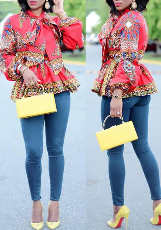 Red Floral Pleated Bow Long Sleeve Peplum Tribal Print