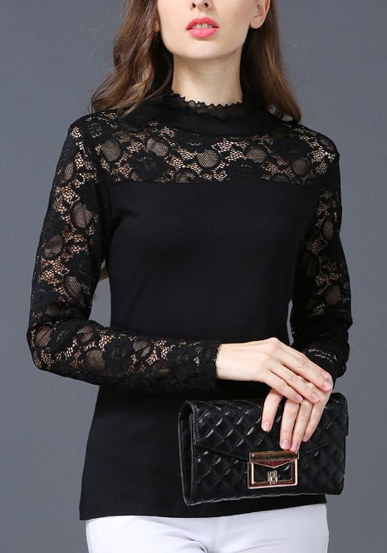 schwarz spitze stehkragen langarm elegantes bluse business oberteil g nstig damen mode oberteile. Black Bedroom Furniture Sets. Home Design Ideas