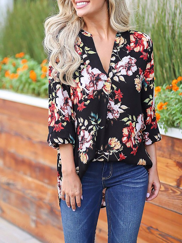 various colors official shop nice cheap Black Floral Print 3/4 Sleeve Party Going out Blouse