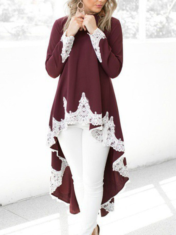 Wine Red Patchwork Lace High Low Round Neck Long Sleeve