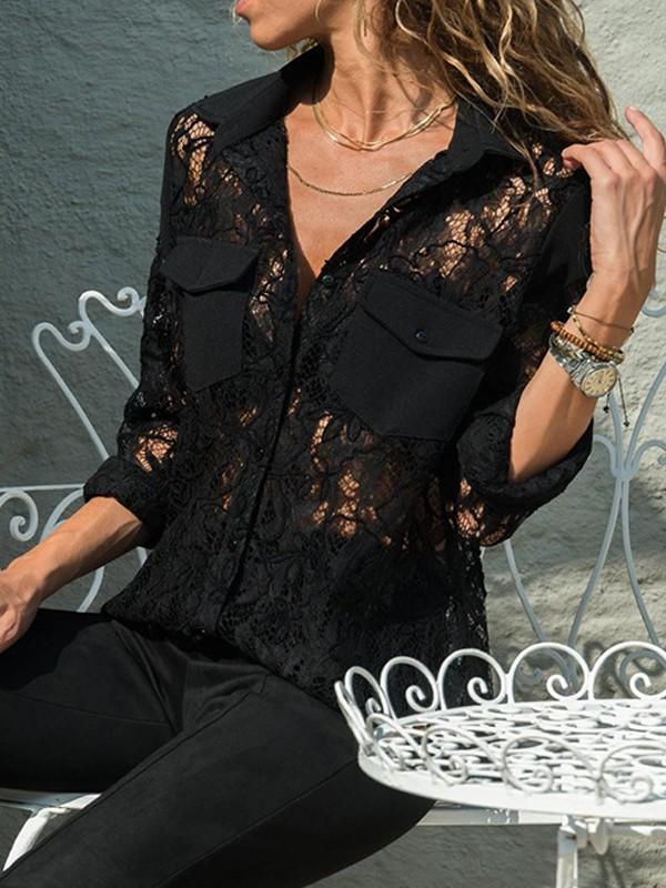 62927f450d87 Schwarz Spitze Taschen Knöpfen V-Ausschnitt Langarm Bluse Tops Oberteile  Günstig Damen Mode