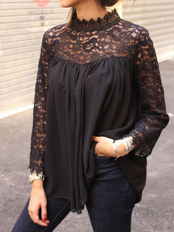 auf Füßen Aufnahmen von hochwertiges Design für die ganze Familie Schwarz Spitze Cut Out Stehkragen Langarm Bluse Elegante Oberteile Mode  Damen