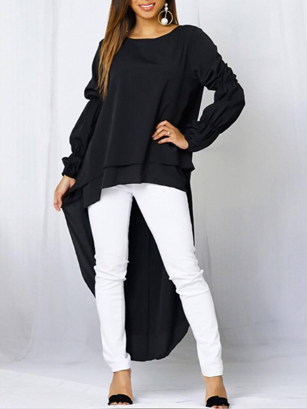 ee7bd6542d46a8 Black Layers Of Ruffle High-Low Round Neck Lantern Long Sleeve Swallowtail  Formal Elegant Blouse - Blouses - Tops