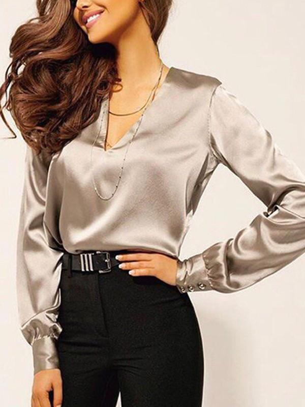 02891b930a Chemisier en satin boutons v-cou manches longues élégant de bureau femme  blouse khaki