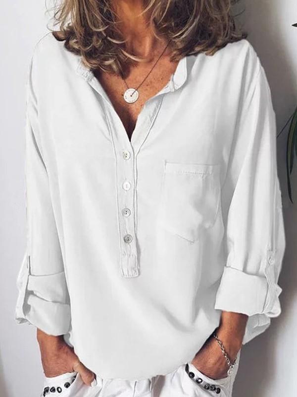 heiß-verkauf echt besserer Preis für online hier Weiße Taschen Knöpfen V-Ausschnitt Langarm Beiläufiges Oversize Sommer  Bluse Tops Oberteile Damen Mode