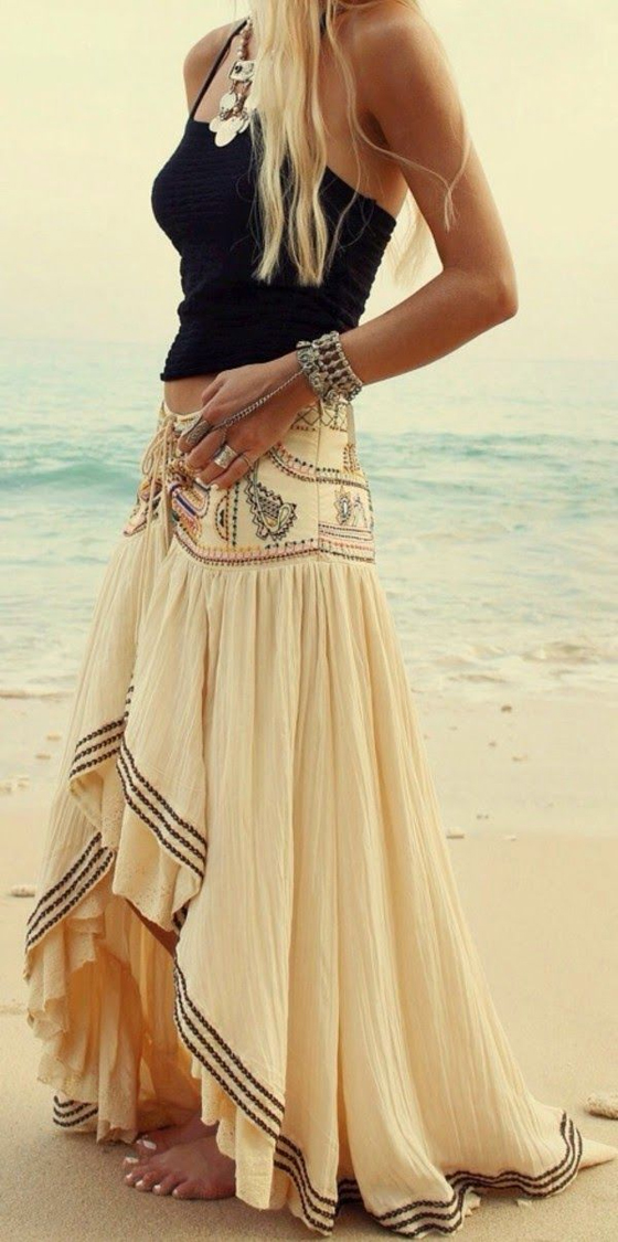 dd9e7106e Beige Gypsy Boho Tribal Floral Bohemian Summer Beach High Low Long Skirt -  Skirts - Bottoms