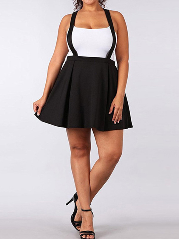 746462cec1 Black Pleated Tutu Plus Size Skater High Waisted Cute Overall Suspender  Skirt - Skirts - Bottoms