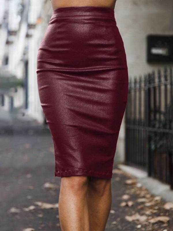 5389e21b3b52ca Mi-longue jupe crayon en simili cuir culotte haute fermeture éclair slim  mode femme bordeaux