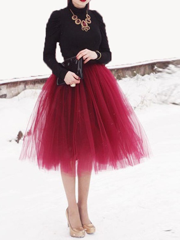 Burgundy Patchwork Grenadine Floral Pleated Plus Size High Waisted Cute  Party Tulle Skirt