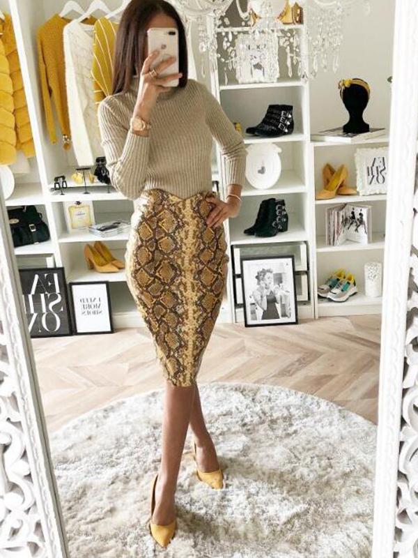 2c8713b6f Yellow Snake Skin Pattern High Waisted Bodycon Elegant Midi Skirt - Skirts  - Bottoms