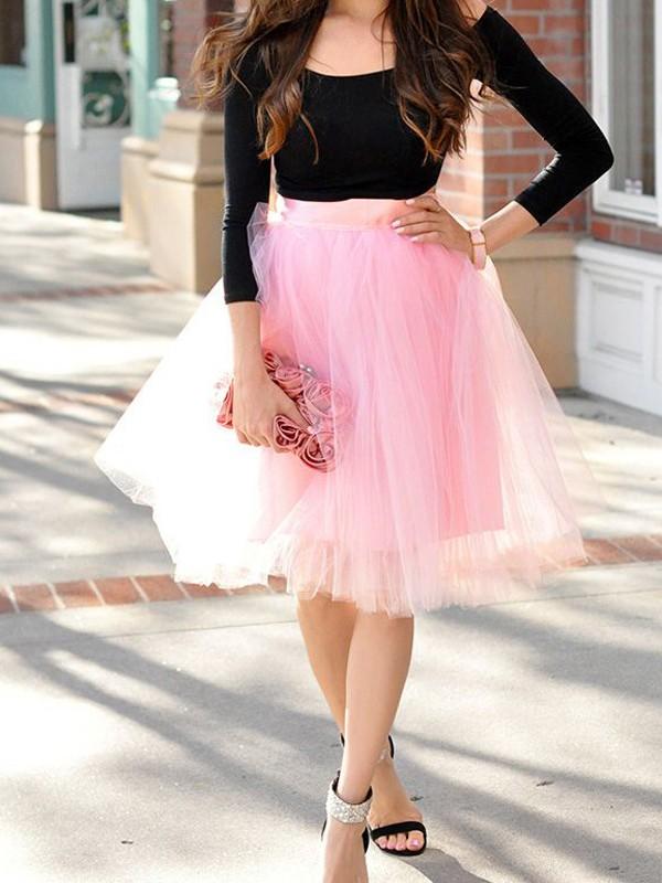 db226bca3 Falda granadina plisada drapeada de talle alto elegante rosa