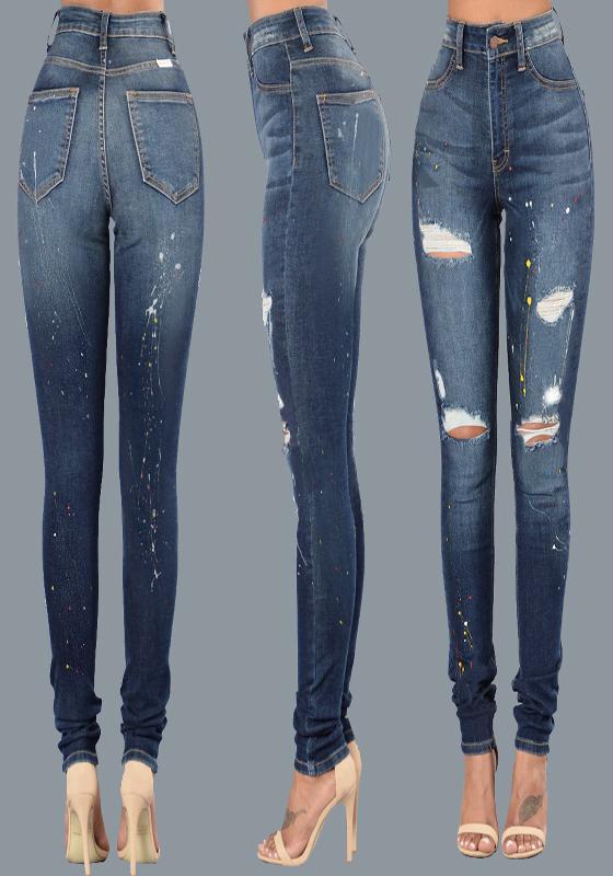 dunkelblau zerrissene r hrenjeans high waisted taschen l cher jeans ripped jeans skinny damen. Black Bedroom Furniture Sets. Home Design Ideas