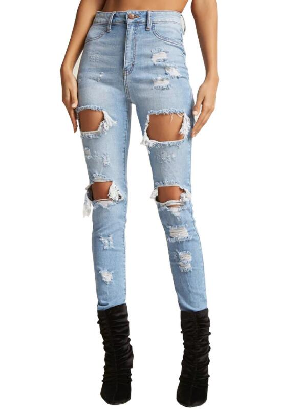 hellblau taschen cut out ripped lange zerrissene boyfriend jeans r hrenjeans mode hose damen. Black Bedroom Furniture Sets. Home Design Ideas