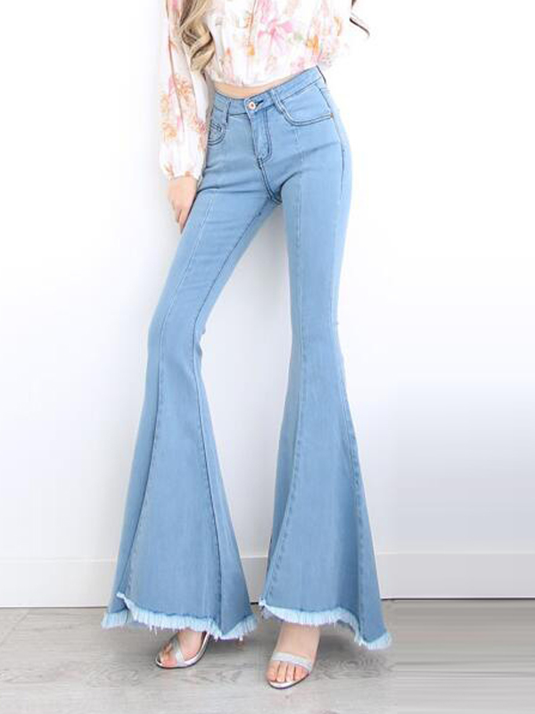 Light Blue Tassel Pockets High Waisted Cowgirl Push Up