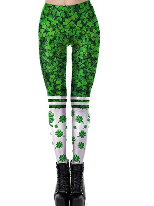 b5986d7c668faa Green Four Leaf Clover Print Shamrock Workout Socks Yoga Sports St.  Patrick's Day Legging - Leggings - Bottoms