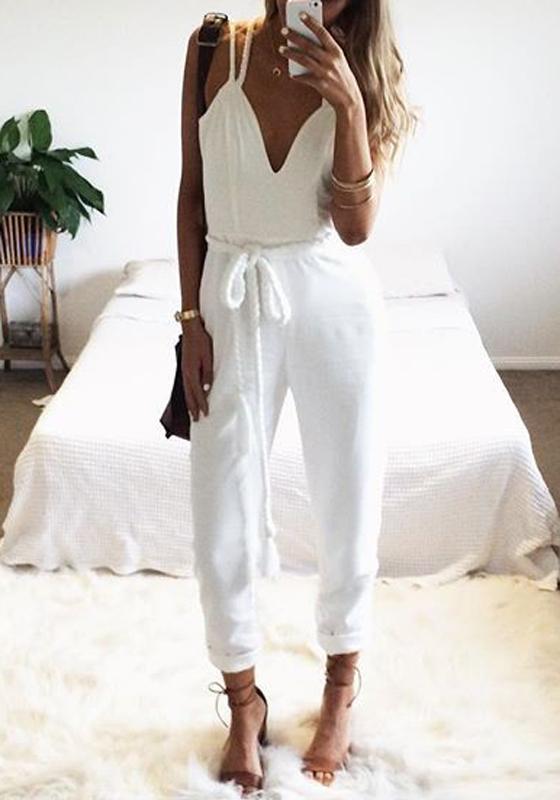 jumpsuit longue combinaison pantalon col v bretelles sans. Black Bedroom Furniture Sets. Home Design Ideas