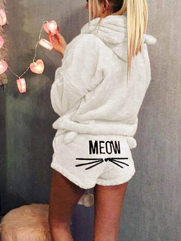 chaussures d'automne le prix reste stable grande vente au rabais Pyjamas pilou pilou meow chats deux pièces à capuche mignon femme  combishort blanc