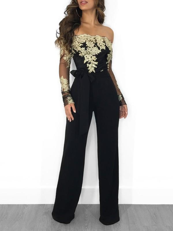 Neues Produkt Luxus kaufen offizielle Fotos Golden Schwarz Mesh Spitze Off Shoulder Rückenfreies Langarm Schleife  Bindegürtel Elegante Damen Lang Jumpsuit