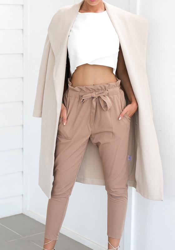 khaki pockets sashes bow comfy high waisted belt casual harem nine 39 s pants pants bottoms. Black Bedroom Furniture Sets. Home Design Ideas
