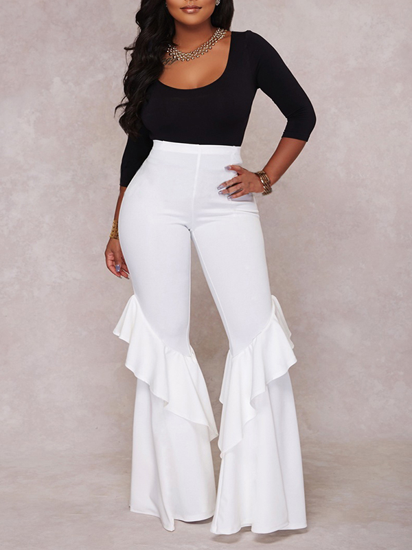 White Ruffle High Waisted Party Wide Leg Flare Bell Bottom