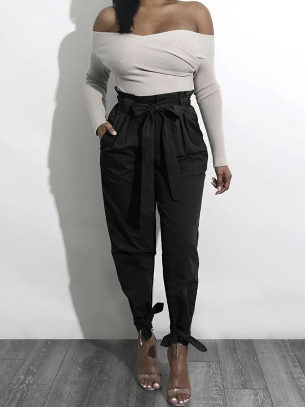 harem pantalons taille haute avec noeud ceinture mode femme noir pantalon bas. Black Bedroom Furniture Sets. Home Design Ideas