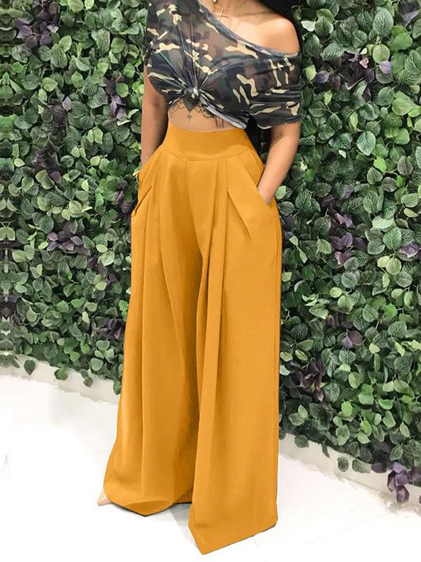 Pantalons large palazzo longue culotte haute avec poches mode femme moutarde - Pantalon - Bas