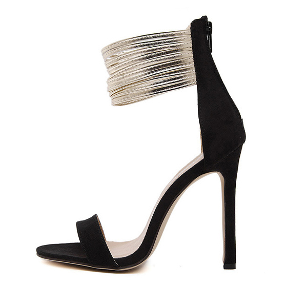 Black piscine mouth stiletto zipper fashion sandals for All black piscine wedges