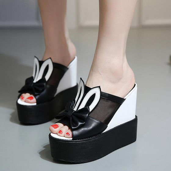 Black piscine mouth wedges bow casual ankle sandals for All black piscine wedges