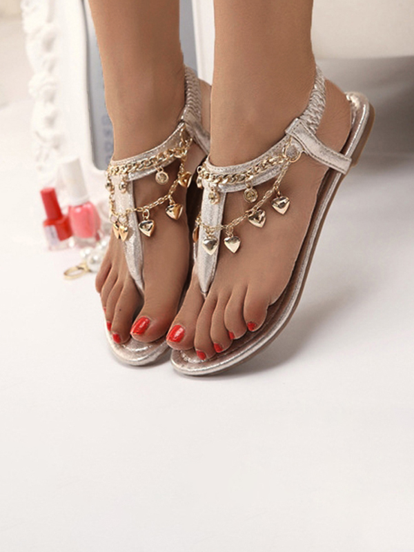 golden round toe flat chain fashion ankle sandals sandals shoes. Black Bedroom Furniture Sets. Home Design Ideas