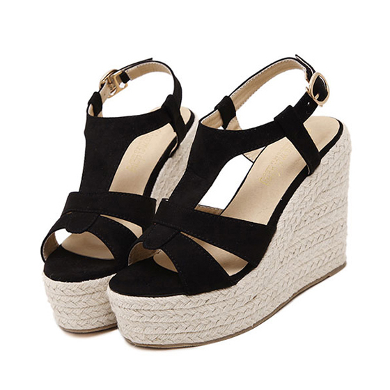 Black piscine mouth wedges buckled casual ankle sandals for All black piscine wedges