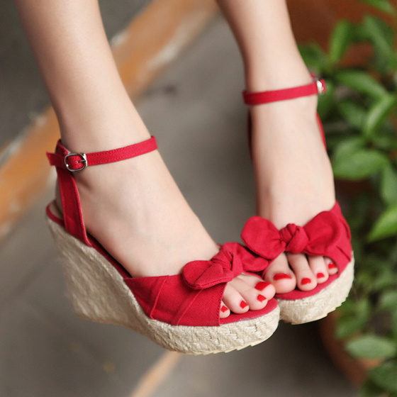 red piscine mouth bow wedges straw sweet highheeled