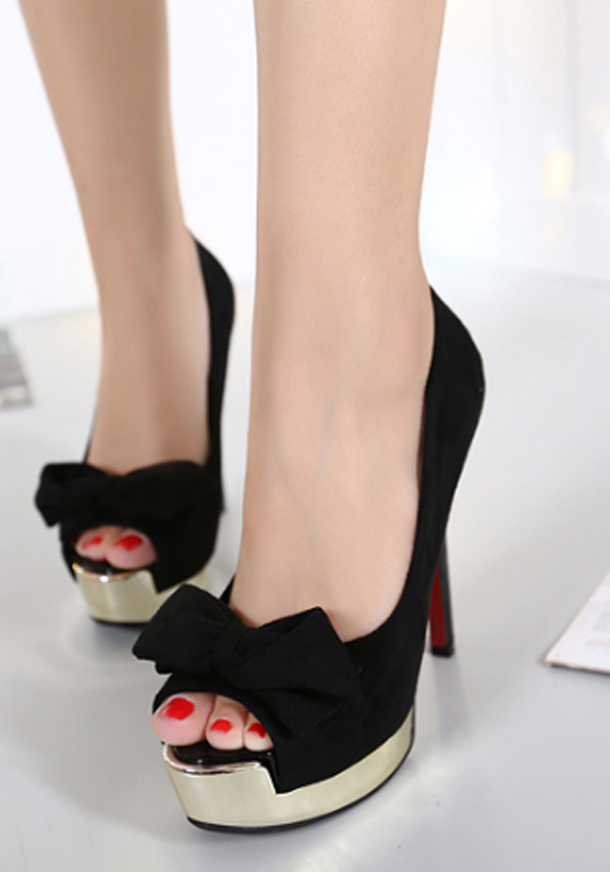 Black piscine mouth stiletto bow fashion high heeled for All black piscine wedges