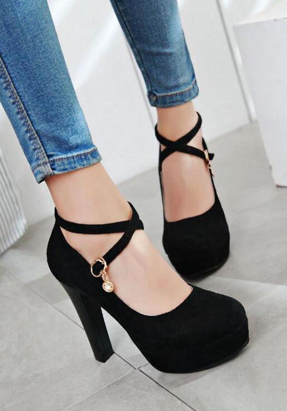 schwarze runde zehe klobig g rtelschnalle mode high heels. Black Bedroom Furniture Sets. Home Design Ideas