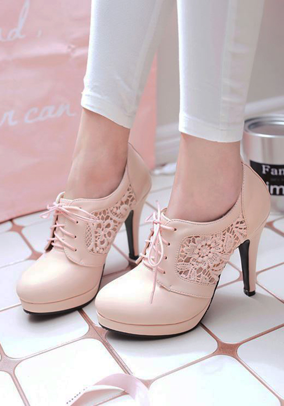 Pink Round Toe Stiletto Hollow Out Fashion High Heeled Shoes