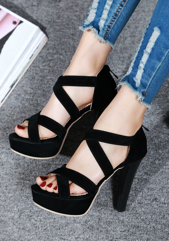 Black piscine mouth chunky zipper casual high heeled for All black piscine wedges