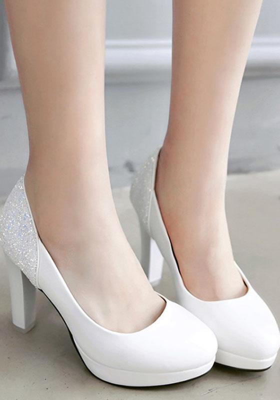 wei e runde zehe klobig paillette beil ufig high heels schuhe pumps schuhe. Black Bedroom Furniture Sets. Home Design Ideas